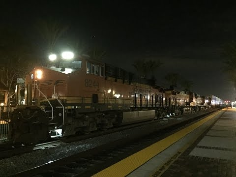 BNSF Railway HD 60fps: Late Night Intermodal Freight Action