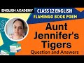 CBSE Class 12 Poem - Aunt Jennifer's tigers Question and Answers