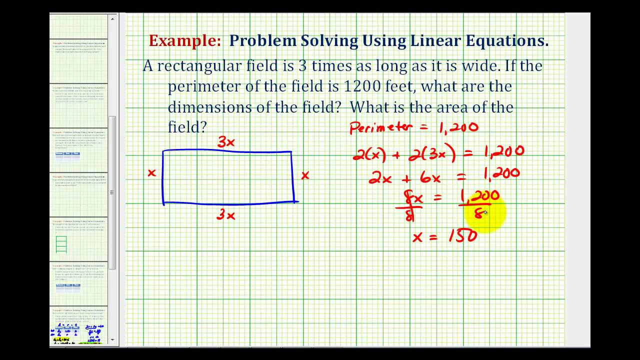 Ex: Find The Dimensions And Area Of A Field Given The Perimeter