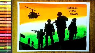 Poster on Kargil Vijay Diwas ll Easy drawing on Independence Day ll 15 August poster drawing ll