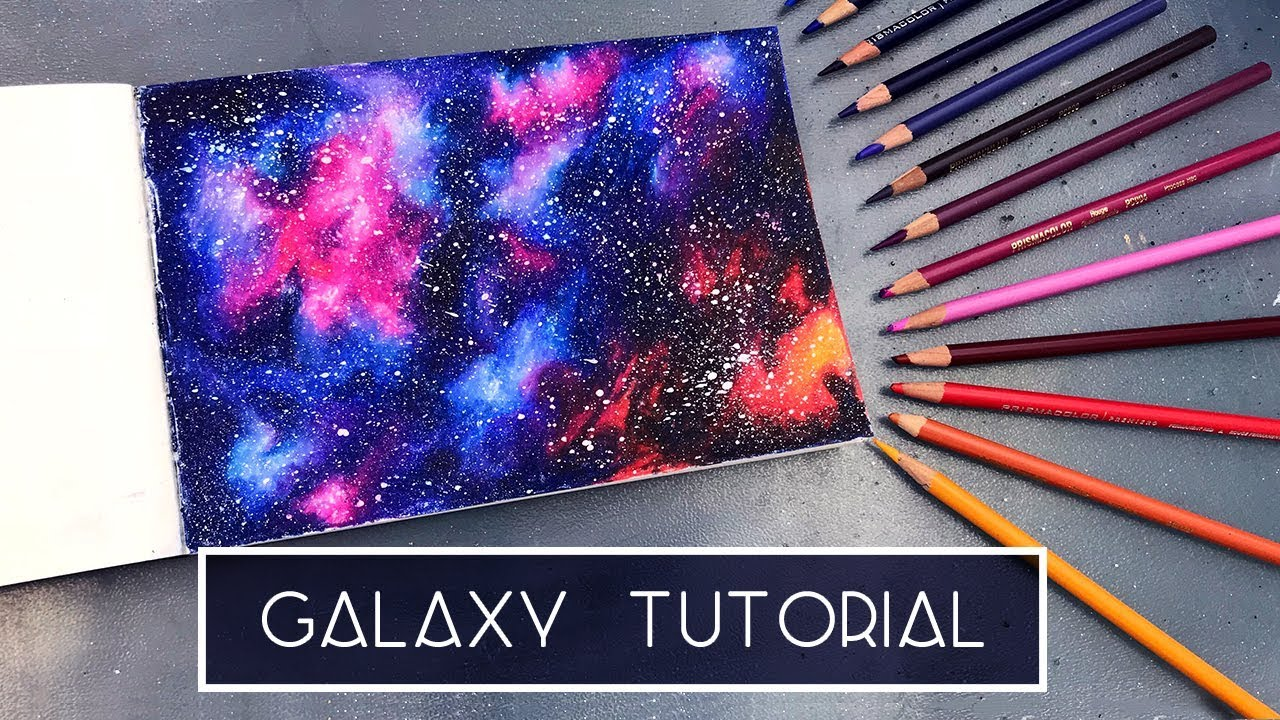 How to draw a galaxy coloured pencil tutorial
