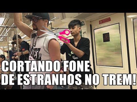 CORTANDO FONE DE PESSOAS NO TREM! #RESPONDAGABRIEL36