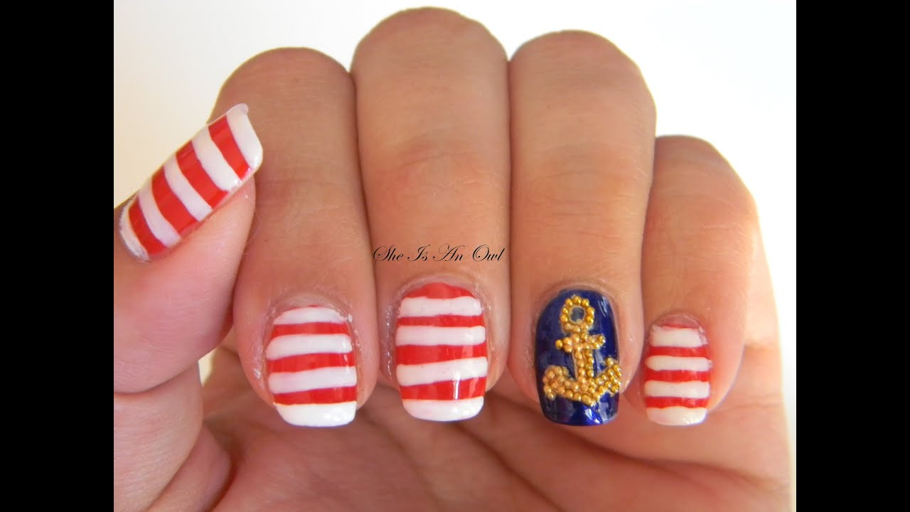 Sailornavy nails with caviar anchor unghie marinare con ancora sailornavy nails with caviar anchor unghie marinare con ancora summer nail art tutorial notd youtube prinsesfo Choice Image