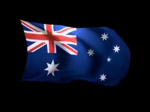 Advance Australia Fair Juile Anthony version with waving flag