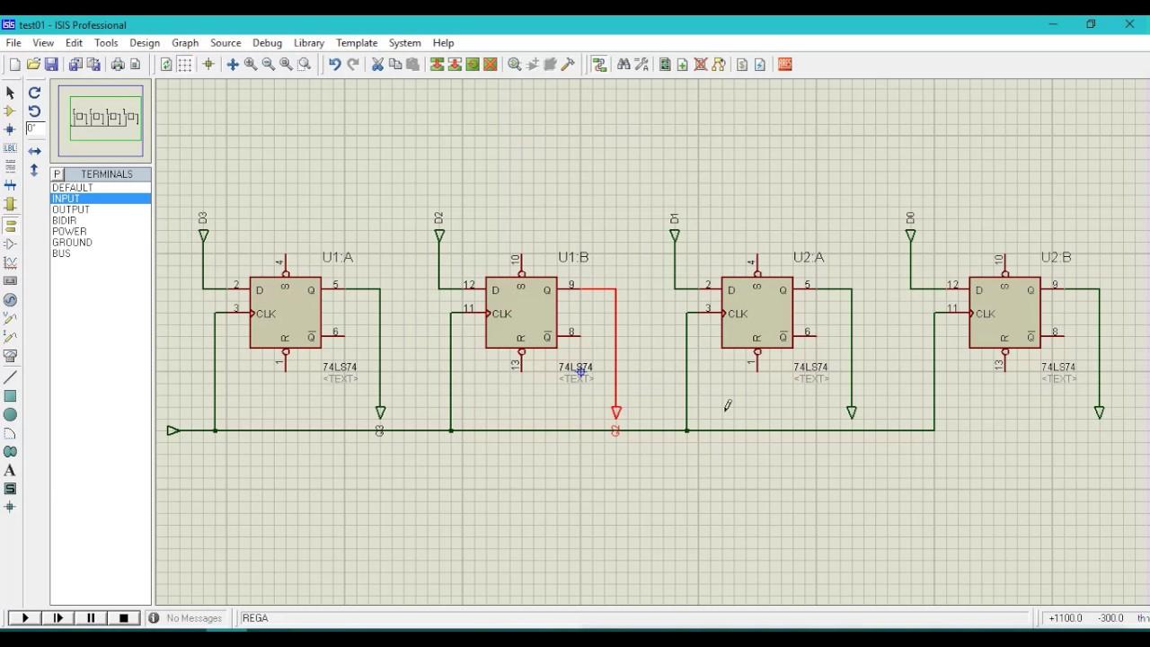 4 Bit Register In Proteus Youtube Logic Diagram Of Universal Shift