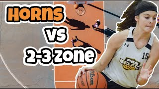 Simple Horns Basketball Plays vs 2-3 Zone Defense