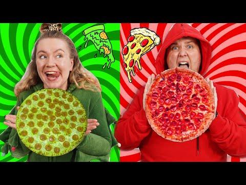 ПИЦЦА Одного Цвета ! Красная против Зеленой Челлендж !