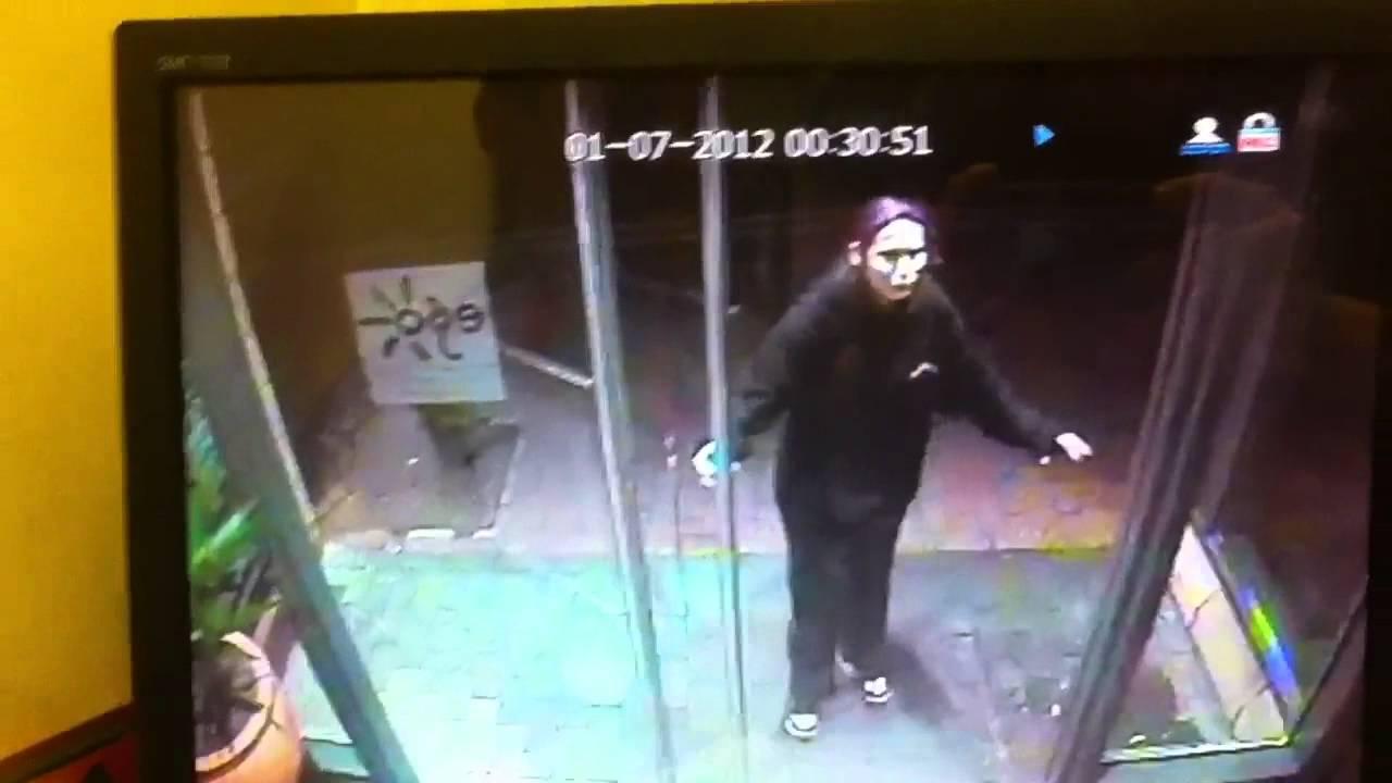 Girl walks into glass door very funny!! - YouTube