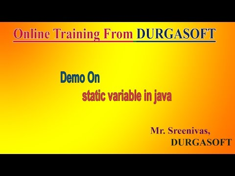 Online Training From DURGASOFT  Demo On Core Java (static variable ) by Sreenivas