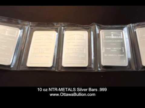 10 oz NTR METALS Silver Bars .999  Buying Silver in Ottawa