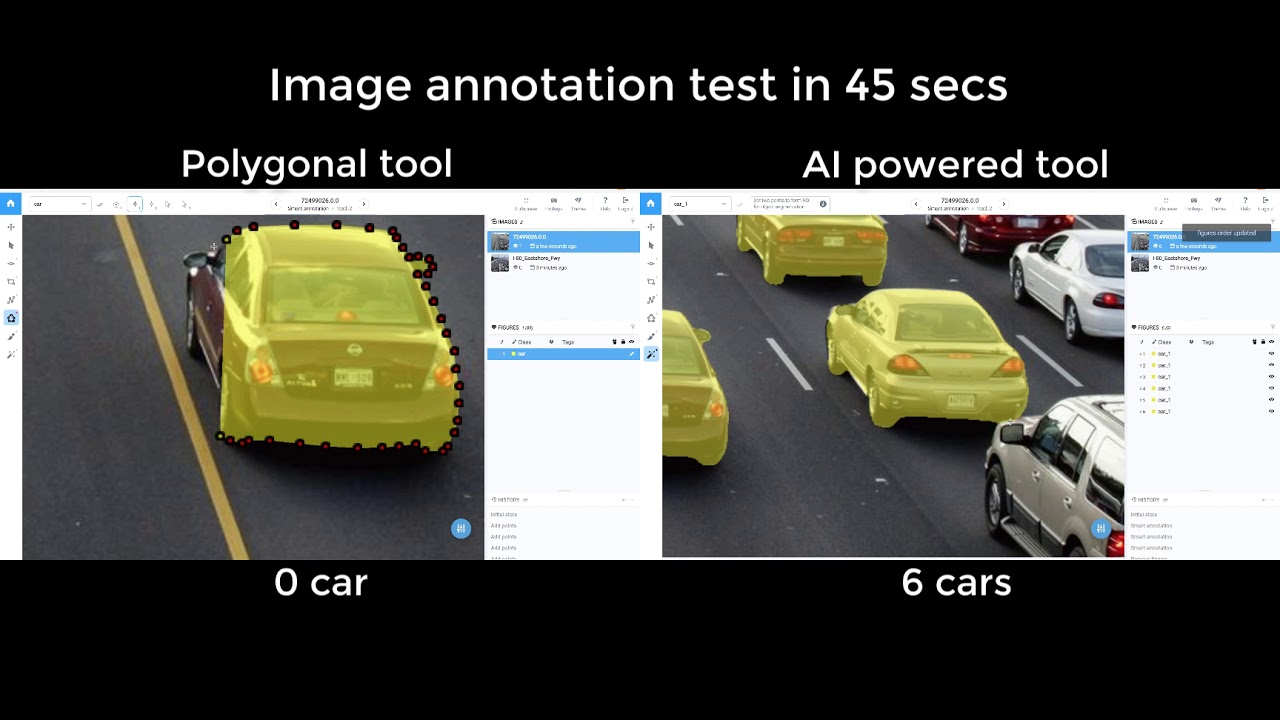 Cars annotation in Supervisely: Polygons vs  AI powered tool