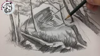 How to draw a Mountain Landscape with Pencil very easy (in spanish)