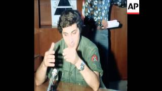 SYND 9 10 76 HEAD OF PHALANGIST MILITIA IN LEBANON,  BACHIR GEMAYEL SPEAKING TO PRESS IN BEIRUT