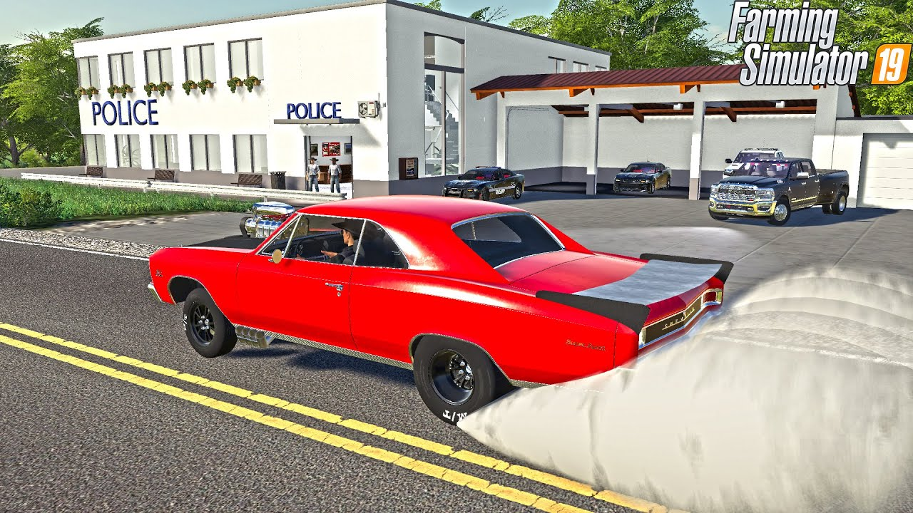 BURNOUT IN FRONT OF POLICE STATION (5 MAN PURSUIT) | FARMING SIMULATOR 2019 thumbnail