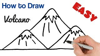 How to Draw Volcano Mountains Super Easy Drawing