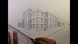 How To Draw in Two Point Perspective - Simple Town #2