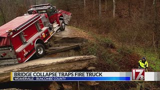 NC fire truck gets stuck as bridge collapses
