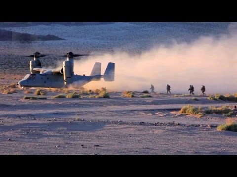 Marines' MV-22 Ospreys Landing/Takeoff In Dirt – Ground Realistic Urban Training
