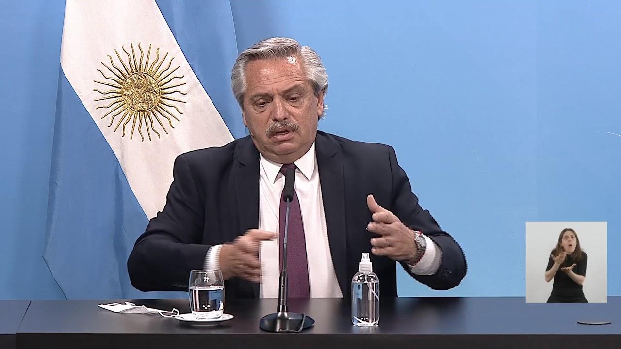 Anuncio del presidente Alberto Fernández y el ministro de Salud, Ginés González García