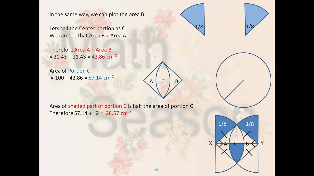 Six Grade Psle Math Sum Of Geometry To Find Area Of Shaded Part Of Circle