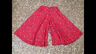 HOW TO SEW LONG CIRCULAR PLAZZO/ DIVIDED SKIRT/ WIDE LEG TROUSERS FOR KIDS TUTORIAL