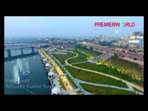 Aerial View of Musical Fountain at Gomti Riverfront Lucknow
