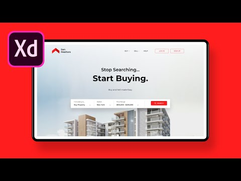 Learn UI UX Design Tutorial 2019 in Adobe XD | Real Estate Website Landing Page | Web App thumbnail