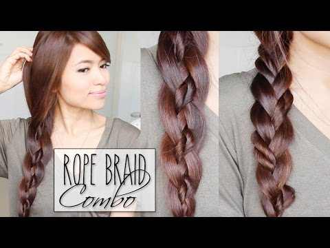 4-Strand Braid + Rope Braid Combo Hairstyles | Hair Tutorial