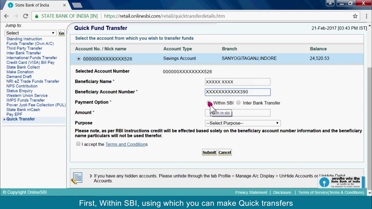 SBI RINB: Quick Transfer (Video Created in March 2017)