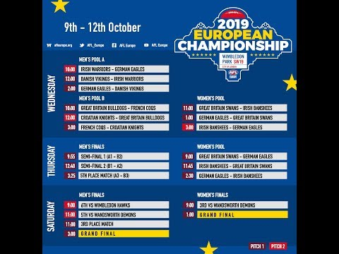 2019 AFL European Championship - Saturday Morning Finals session