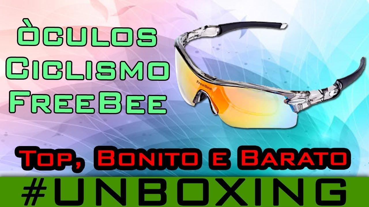 Óculos Ciclismo Freebee 5 lentes Polarizado UV400 Noturno Pedal Bike  Esportivo  47 Unboxing gearbest e5f931b422