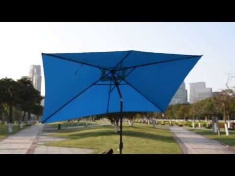 rectangular solar powered 22 led lighted outdoor patio umbrella with crank and tiltpu018 - Rectangle Patio Umbrella