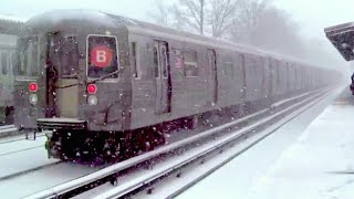 ᴴᴰ Snowy B and Q Train Action at Avenue U