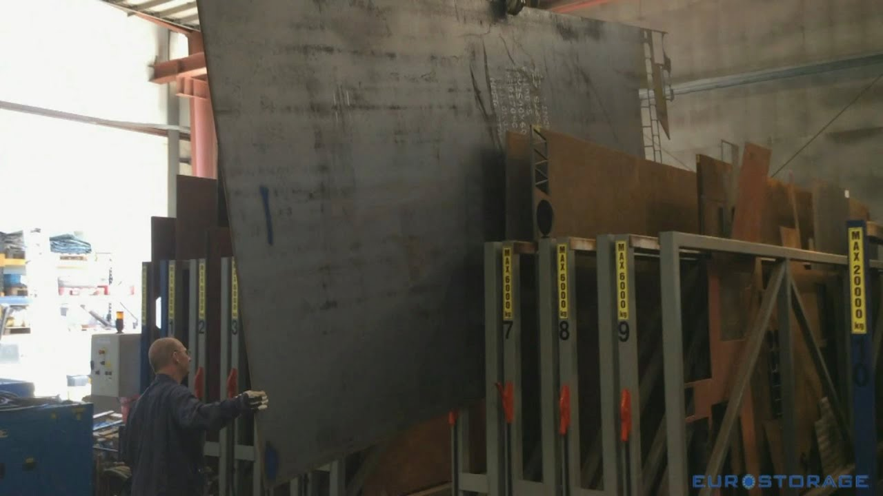 Storage Of Sheet Metal With Crane In U Box Rack Youtube