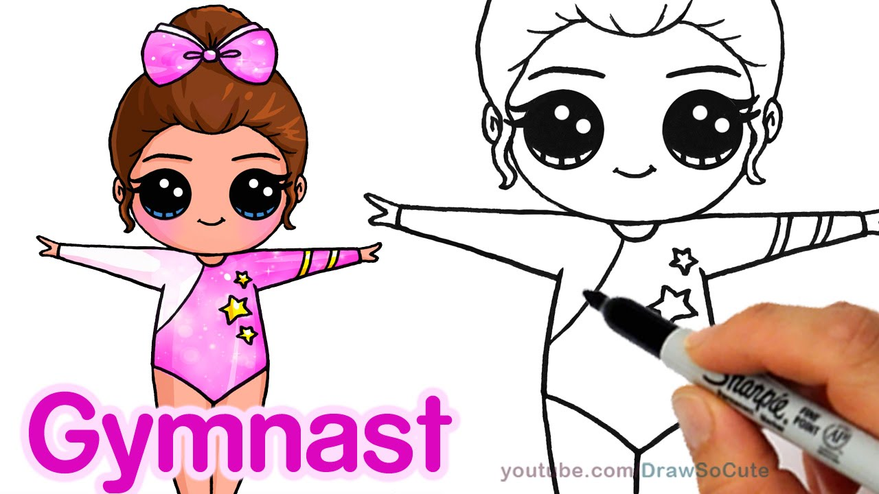 how to draw a cute gymnast step by step easy chibi youtube