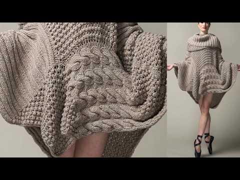 Модели вязания. Креативные пончо-свитера.