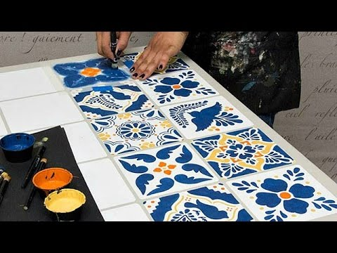 How to Stencil Furniture Mexican Talavera Tile Table with