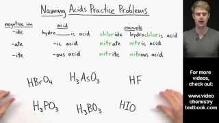 Naming Acids Practice Problems(Here are many example problems for naming acids. In order to name an acid, you need to break it down into the ions that make it up. One ion is H+ and the other ..., 2015-04-21T03:50:12.000Z)