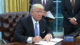 President Trump signs order withdrawing U.S. from TPP (C-SPAN)