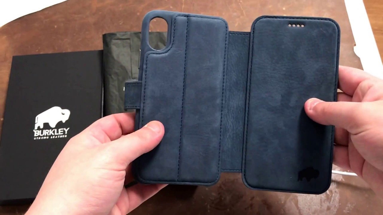 the best attitude ff820 c98a9 Burkley Case Leather Wallet Folio Case for Apple iPhone X   Navy