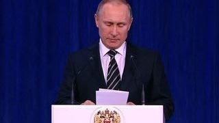 Путин дал самую высокую оценку действиям российской армии в Сирии(Выступая в Кремле на торжественном вечере, приуроченном ко Дню защитника Отечества, Владимир Путин дал..., 2016-02-20T16:54:40.000Z)