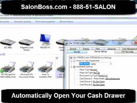 How To Automatically Open Your Cash Drawer When Your Receipt Prints - www.SalonBoss.com - YouTube