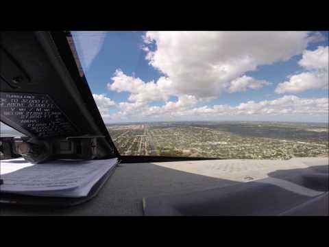 Gulfstream IV-SP Cockpit View Landing Opa-Locka Runway 27R KOPF