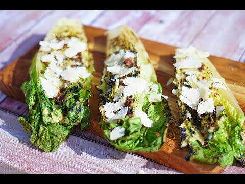 Grilled Romaine Hearts with Caesar Dressing, Bacon and Parmesan