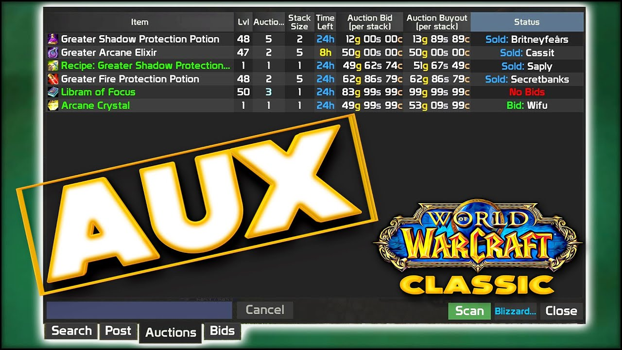 Classic Wow Aux Auction House Guide Step Up Your Gold Gains Rags To Riches Youtube