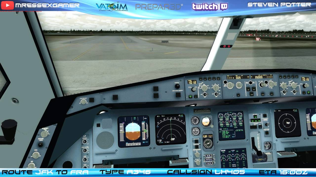 PREPAR3D V3- BLACK BOX A340-600- KJFK (NEW YORK) TO EDDF (FRANKFURT)-  COCKPIT PREP- VATSIM