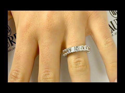 7 carat Emerald Cut Diamond Eternity Ring in Platinum YouTube