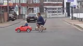 Drunk dad ride home son lift pub beer burp