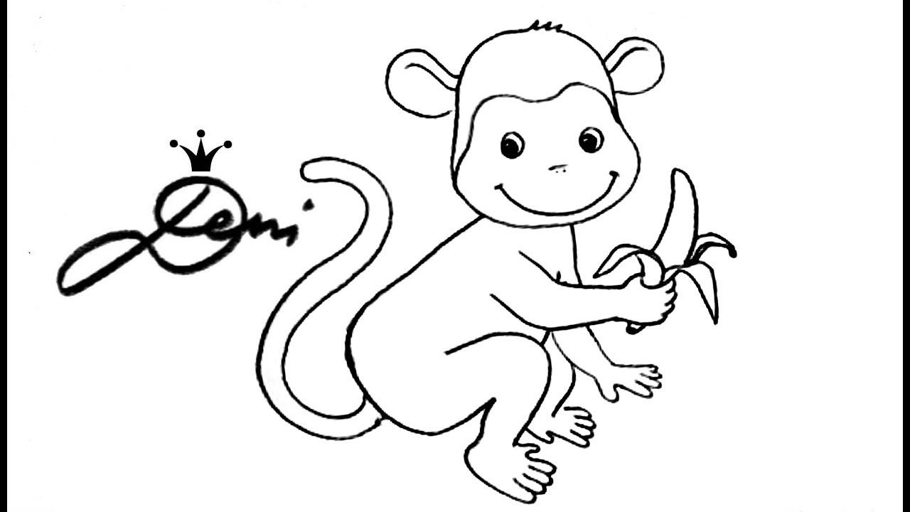 Äffchen 🐵 affe zeichnen lernen für kinder 🐒 monkey drawing