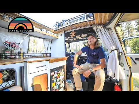 His Modified 1985 VW Camper Van Has A Skylight, Shower & Tons Of Clever Mods For Full Time Vanlife